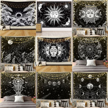 Tapestry Blanket Wall-Rugs Dorm-Decor Mandala Sun-And-Moon Black White Gossip