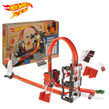 цена на Hot Wheels Carros Track set race Model Car challenge Train Kid Plastic Metal Toys For Children Juguetes boys birthday gift DWW96