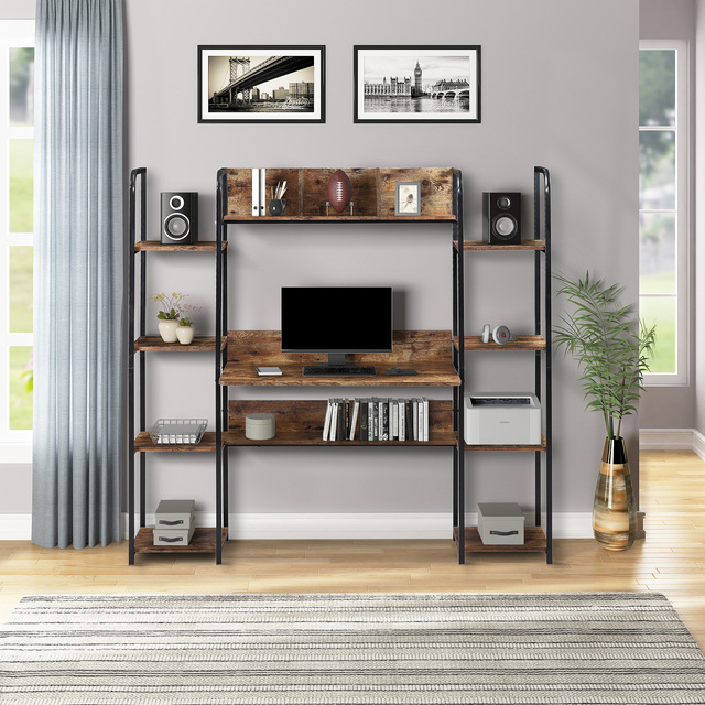 Home Office Computer Desk With Double Bookcase  3