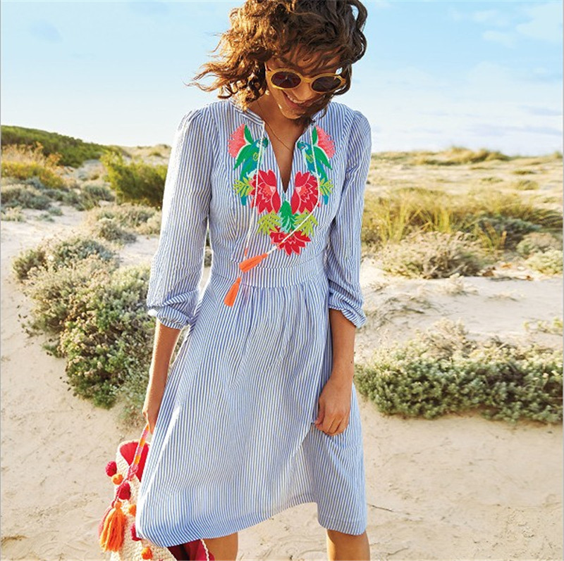 Europe And America Hot Selling Cotton Light Blue And White Striped Chest Embroidery Beach Skirt Bikini Cover-up Sun Shirt
