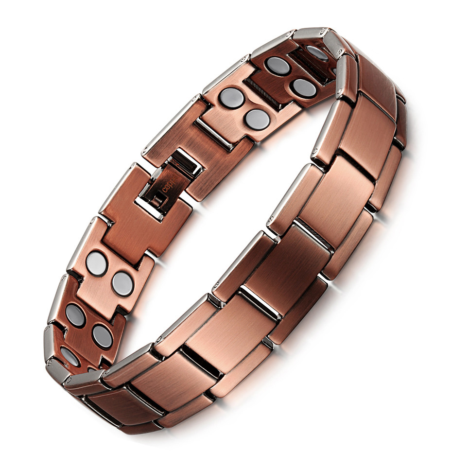 Vintage Copper Magnetic Bracelet for Men / Women 2 Row Magnet Healthy Healing Therapy Bio Energy Bangles Fashion Jewelry