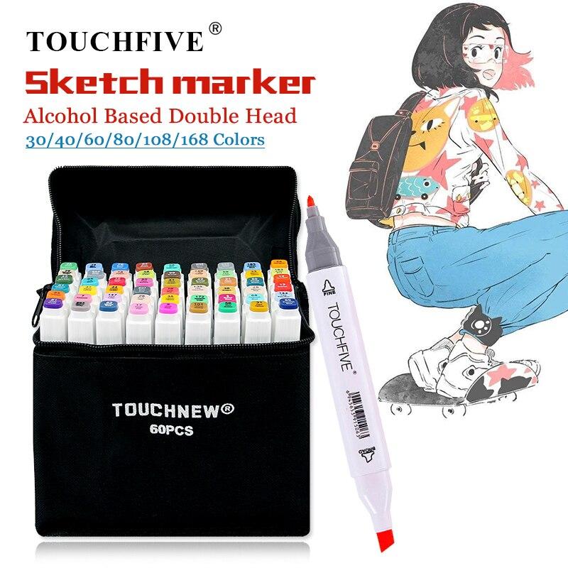 Touchfive 30/40/60/80/168 marcador de cor mangá desenho marcadores caneta álcool baseado cabeça dupla esboço escova oleosa caneta arte suprimentos