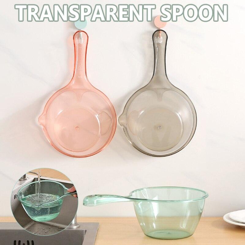 Long Handle Transparent  Water Ladle Hanging Spoon Kitchen Bathroom Scoops Bath Shower Washing lpfk Water Scoops Kitchen Tools