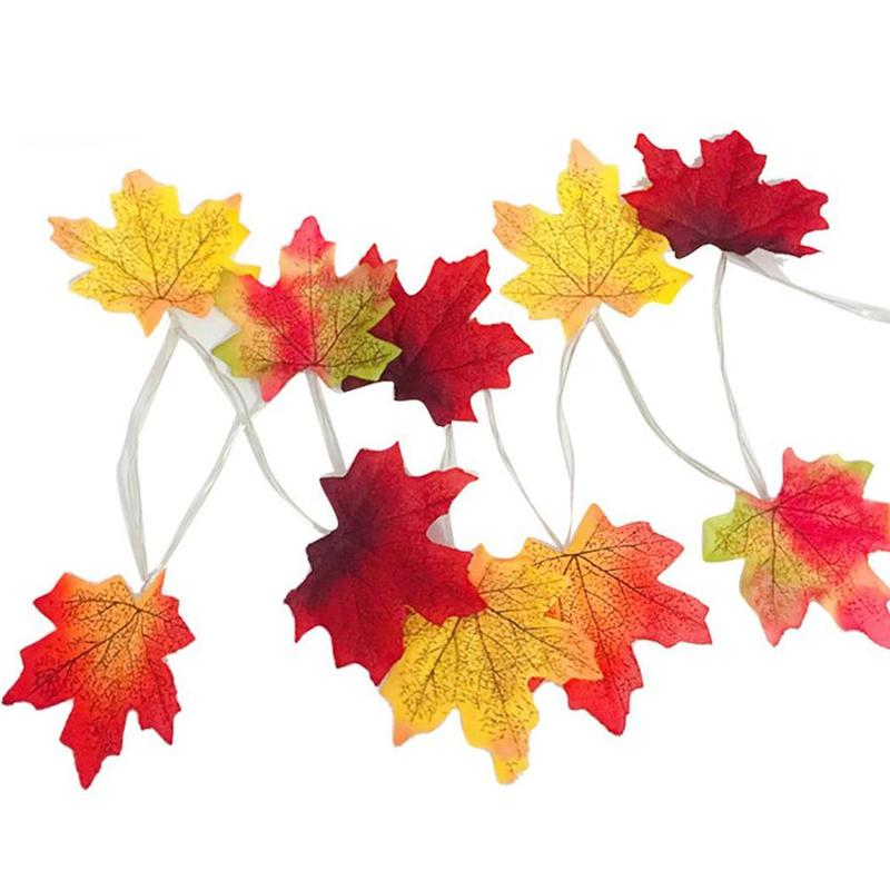 2M LED Lighted Fall Autumn Pumpkin Maple Leaves Garland Halloween Decor