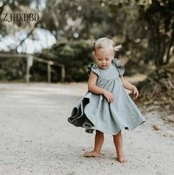 Estilo europeu e americano sólido puff manga meninas vestidos para vestidos da menina do bebê 2020 verão bebê princesa crianças vestido roupas