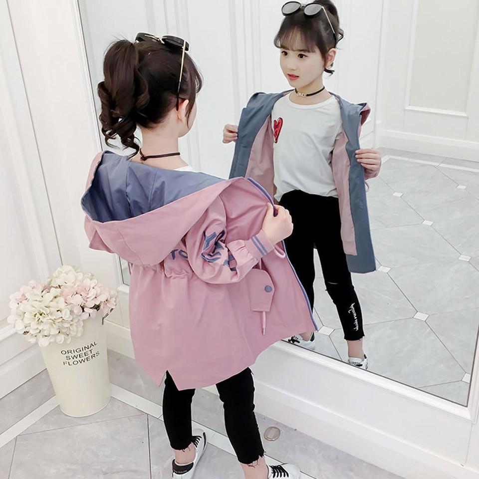 Длинная Куртка для девочек, однотонная ветровка для девочек на весну и осень, детская куртка, подростковая одежда для девочек 6, 8, 10, 12, 13|Куртки и пальто| | АлиЭкспресс