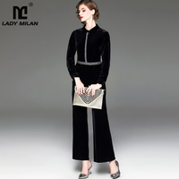 Women's Runway Designer Jumpsuits Turn Down Collar Long Sleeves Embroidery Fashion Long Velour Rompers