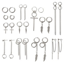 12 Pairs Titanium Steel Statement Kpop Korean Fashion Cross Feather Earrings Set Chain Dangle Hoop Earrings Kit Unisex