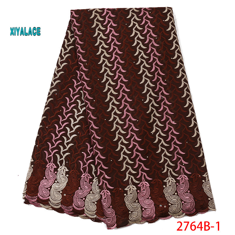Nigerian French Fabric Best Selling Swiss Voile Laces African Fabric High Quality Men And Women Tulle Cord Lace Fabric YA2764B-1