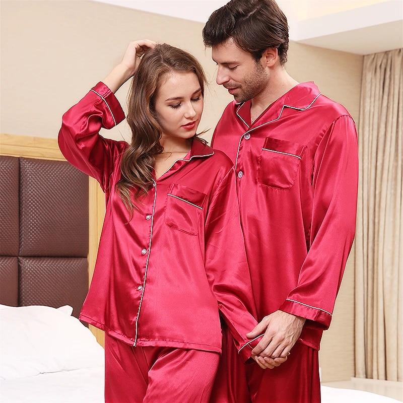 Mens Silk Satin Casual Pajamas Set Long Sleeve Sleepwear Pajama Classic Suit