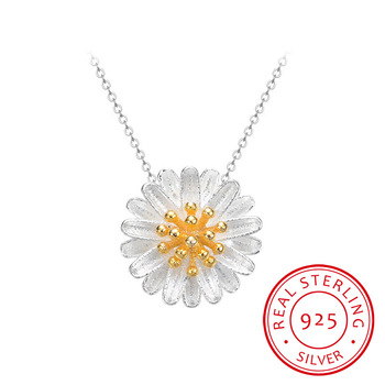 925 Sterling Silver Pendants&Necklaces Daisy Necklace Jewelry Collar Colar de Plata 2019 New Free Shipping Wedding Birthday Gift image