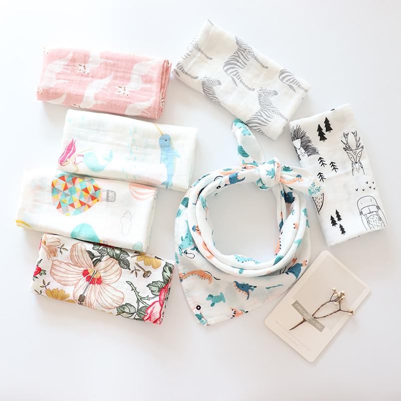 Baby Blankets Newborn Soft Organic Cotton Bath Towel Muslin Gauze Soothing Towel Bib Burp Cloth For Feeding Baby Stuff Scarf