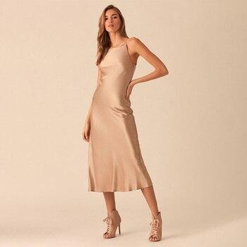 2020 Summer women Satin Slip Sexy Backless Spaghetti Strap Dress  Shiny Sundress Sleeveless Dress Slim Female Retro Prom Dress