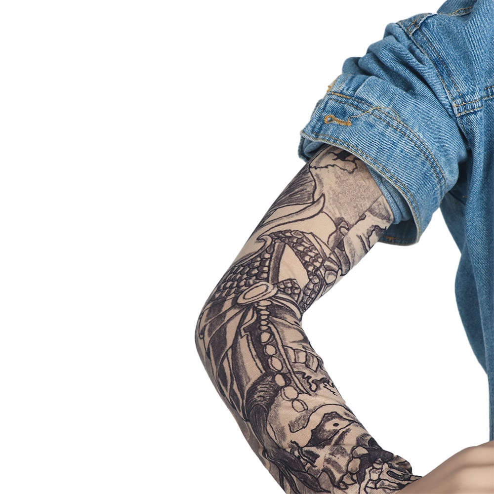 2 Pcs/lot  Punk Men Women UV Sunscreen Skull Theme Fake Tattoo Sleeves Arm Warmers (Color: Multicolor)