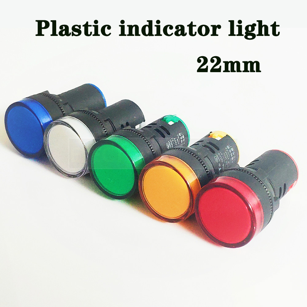22mm Plastic Indicator Lights Waterproof Signal Lamp No Wire 12V 24V 220v Power Signal Lamp LED Indication Indicator Light