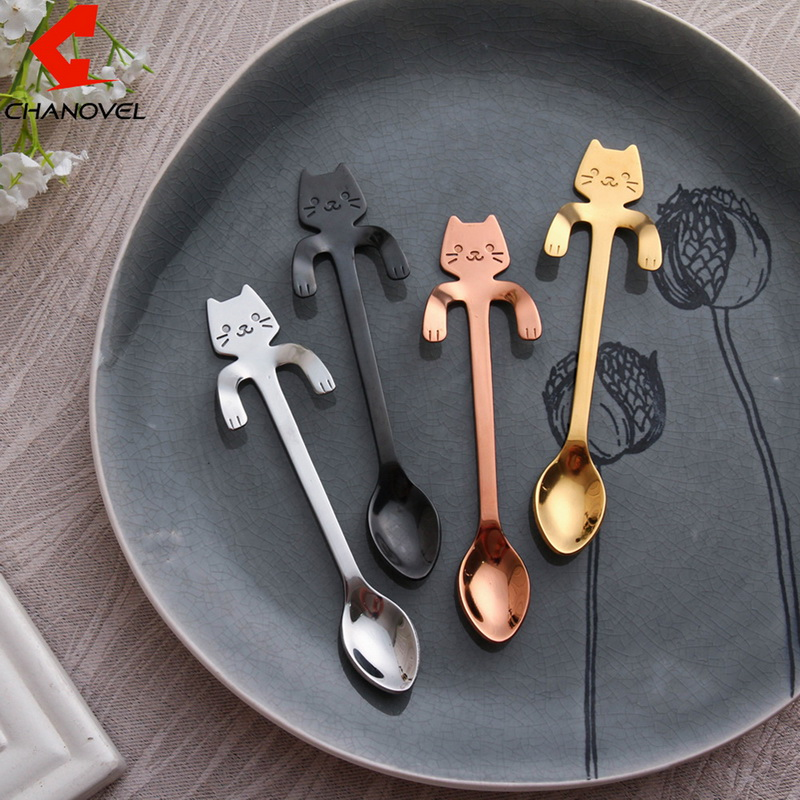 2Pcs Cute Stainless Steel Coffee & Tea Spoon Mini Cat Long Handle Spoon Drinking Tools Kitchen Gadget Flatware Tableware
