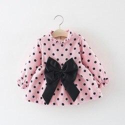 Платье для девочек, детское платье принцессы, одежда для девочек на 1 год, платье на день рождения, детское платье с длинным рукавом и бантом, ...