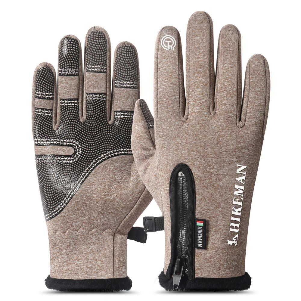 ฤดูหนาวถุงมืออุ่นกีฬากลางแจ้งขี่สกีลมกันน้ำผู้ชายและ Women's Full Finger Zip PLUS กำมะหยี่ซิลิโคน