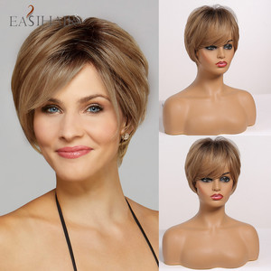 EASIHAIR Ombre Light Brown Dark Brown Roots Straight Short Wigs Synthetic with Full Bangs Heat Resistant Cosplay Wigs for Women(China)