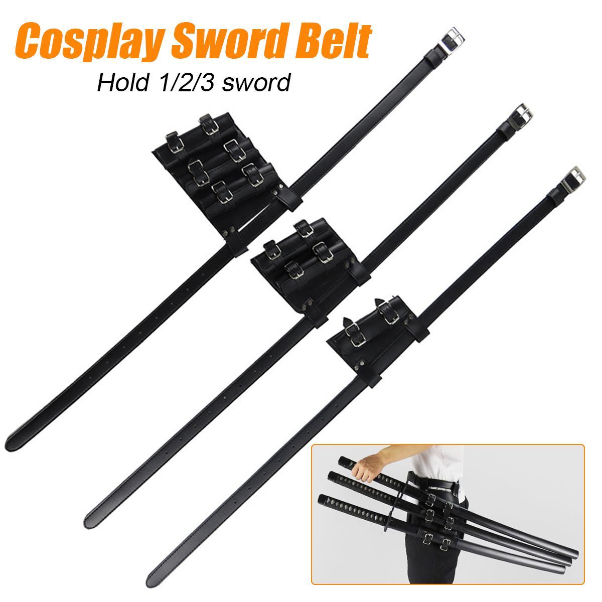 1/2/3 Sword  Sword Holder PU Belt Waist Sheath Adult Men Larp Warrior Cosplay Leather Buckle Strap For Comic Show