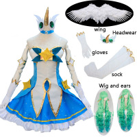 10PCS Game LOL Soraka Cosplay Costume Star Guardian Halloween Cosplay Dress Anime Girls Lolita Dress Full Set Wig Hair Stocking