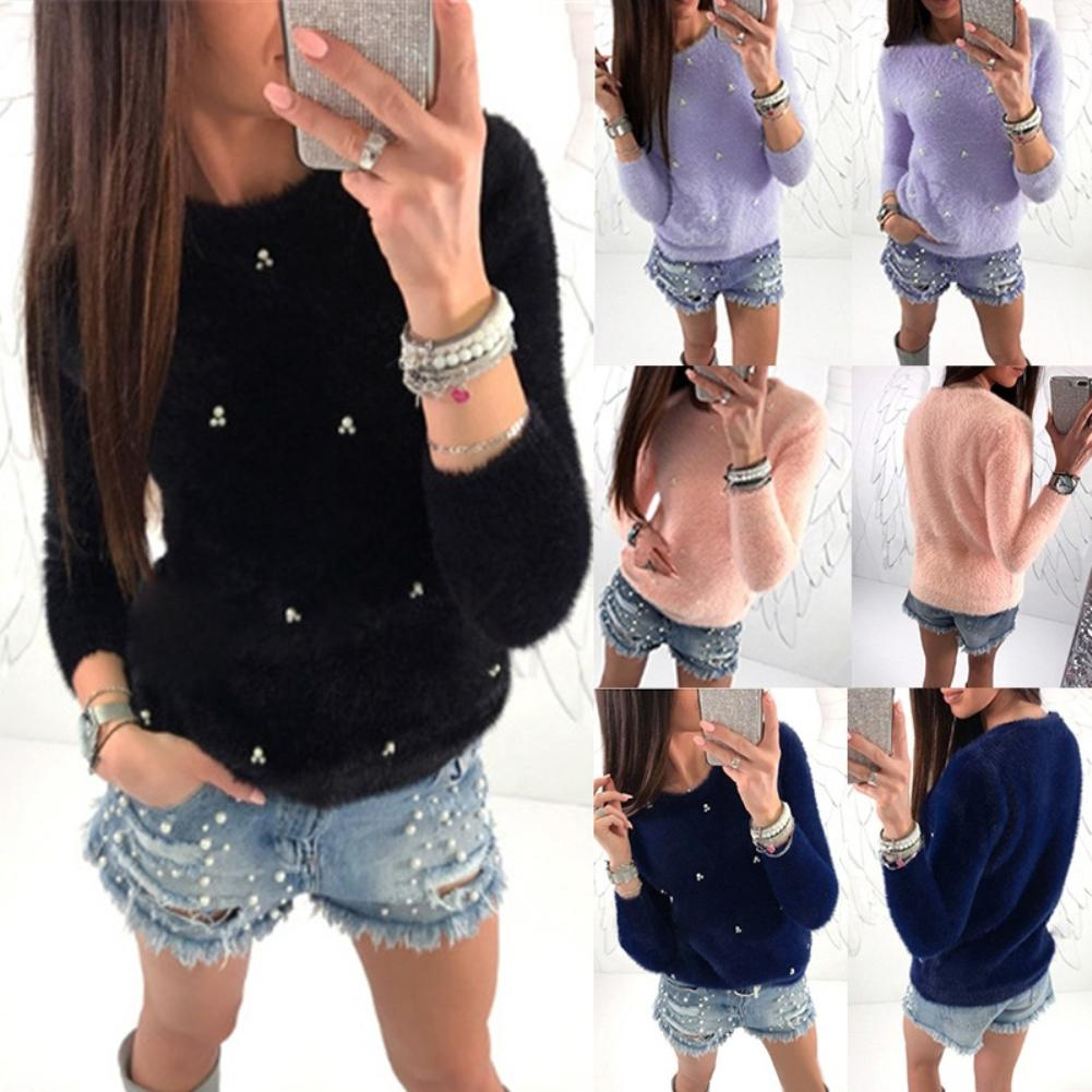 Autumn Winter Sweater Women Fashion Faux Pearl Beading Solid Color Sweaters Plush Long Sleeve Pullover Warm Sweater Pull Femme