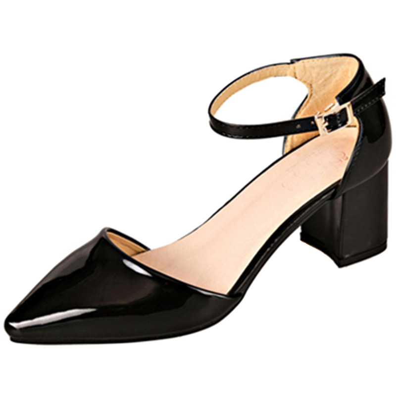 Image 5 - European style sandals female 2018 new word buckle thick with single shoes Womens pumps  small size 31 32 33 Baotou high heelsWomens Pumps   -