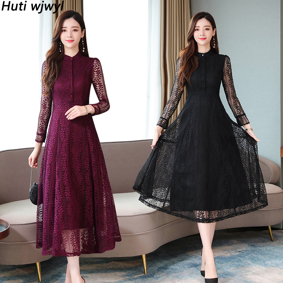2019 Femal Vintage Black Lace Sexy Midi Dresses Autumn Winter New Solid Long Sleeve Dress Elegant Women Bodycon Party Vestidos