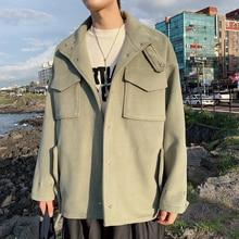 Winter Short Woolen Coat Mens Warm Fashion Solid Color Casual Man Wild Loose Jacket Male Clothes M-2XL