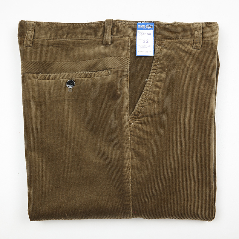 ICPANS Straight Loose Corduroy Winter Pants Men Thick Black Khaki Red High Waist Male Trousers Office Big Size 40 42