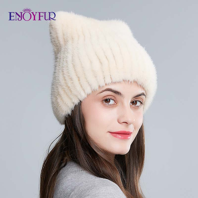 Image 4 - ENJOYFUR winter women's hat real natural mink fur hats new fashion fur caps female thick warm russian beanies caps-in Women's Skullies & Beanies from Apparel Accessories