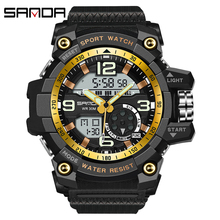 SANDA 759 Sports Mens Watches Top Brand Luxury Military Quartz Watch Men Waterproof S Shock Wristwatches relogio masculino 2019