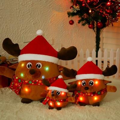 Nouveau Style brillera chantant père noël poupée en peluche jouets Elk poupée activité de noël cadeau
