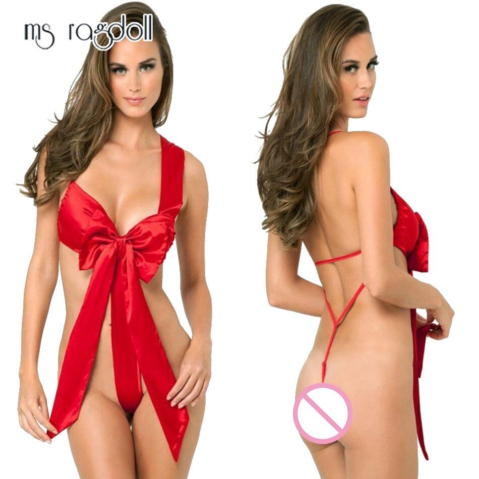 Ms Ragdoll Women Red Bow Sexy Lingerie G-string Christmas Babydoll Exotic Set Open Crotch Underwear Micro Bikini Extreme Apparel
