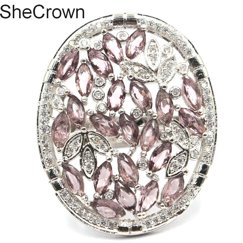 31x25mm lenyűgöző lila ametiszt CZ női esküvői ezüst gyűrű