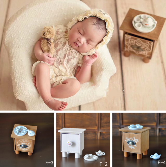 Newborn Baby Photography Prop Mini Tea Table And Tea Set Photo Studio Creative Accessories Infant Shoot Decorations