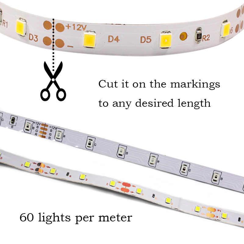 SMD2835 Lampu LED Strip 12V 60 LED/M Neon Pita Dioda RGB Hangat Putih Hijau Merah Biru Fleksibel lampu Hias Strip