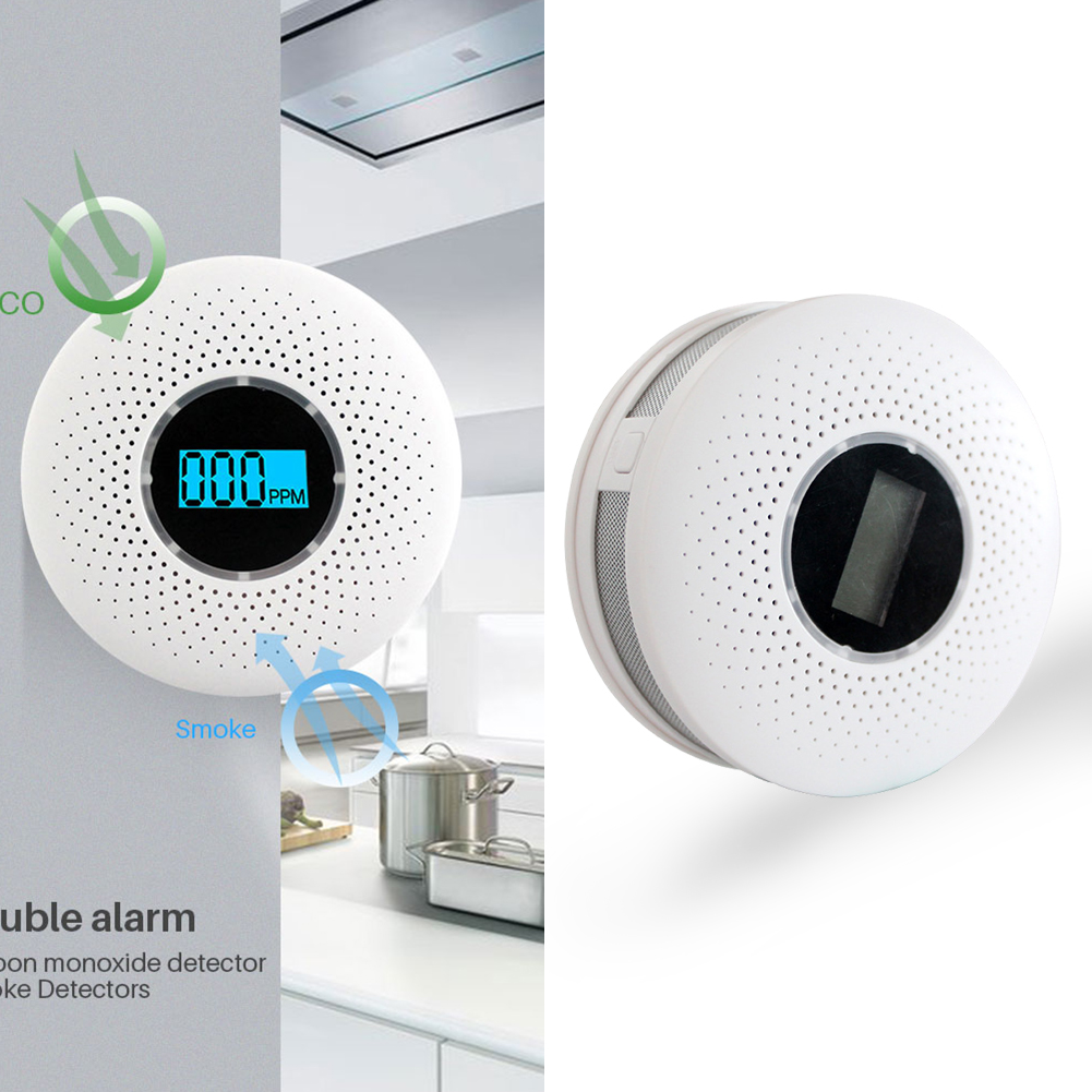 Carbon Monoxide Detector Poisoning Gas Smoke Alarm Sensor Warning Tester Universal CO&Smoke Detector Kitchen Security