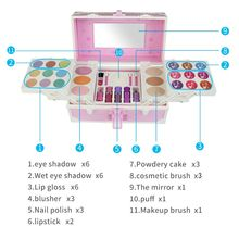 Children Makeup Suitcase Nail Polish Eyeshadow Lipsticks Kits Simulation Princess Cosplay Tool Girls Safe Water Soluble Toy