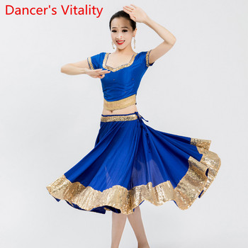 Indian Dance Practice Training Clothes Women Big Swing Skirt Women Belly Oriental Dancing Performance Competition Costume фото