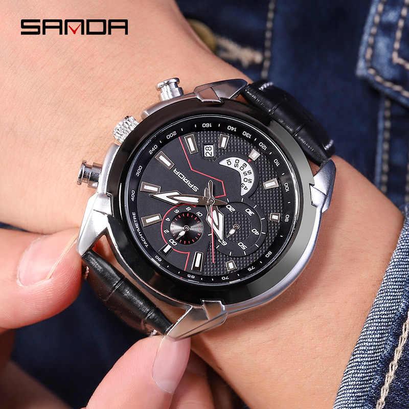 SANDA Mens שעון קוורץ אנלוגי יוקרה אופנה ספורט שעוני יד נירוסטה חיוג מקרית יד מגמת שעוני יד שעון