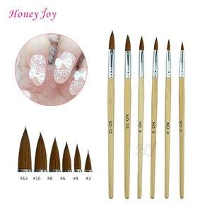 1pc Kolinsky Sable Acrylic Nail Art Brush No. 2/4/6/8/10/12 UV Gel Carving Pen Brush Liquid Powder DIY Beauty Nail Drawing(China)