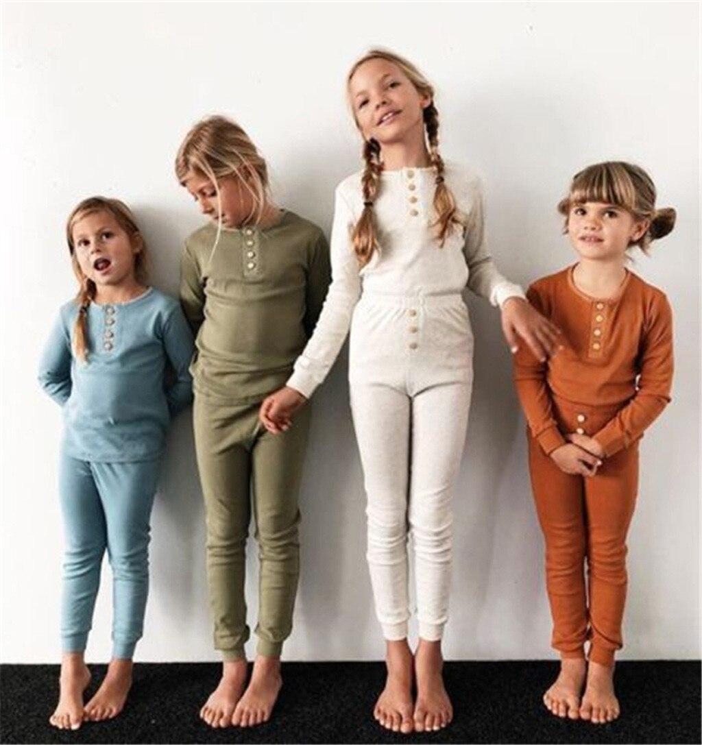 2PCS Children Kids Boys Solid Color Top Clothes+Long Pants Pajamas Set Outfit