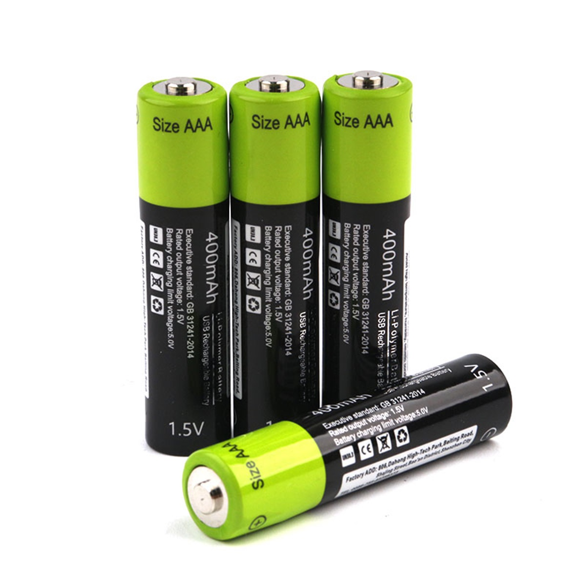 RS AAA Rechargeable Battery Znter 400mah Mirco USB 1.5v Rechargeable lithium polymer battery with charging cable image