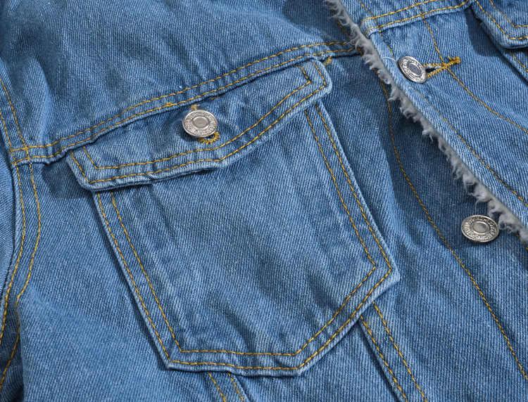 Męska kurtka zimowa jednokolorowa na co dzień 2020 nowa kurtka dżinsowa męska kurtka Bomber modne dżinsy kurtka wełniana podszyta luźny płaszcz Plus rozmiar