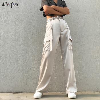 Waatfaak białe luźne spodnie z wysokim stanem damskie koreańskie proste spodnie Harem kieszenie Strappy patchworkowy streetwear Cargo Pants 2019 tanie i dobre opinie Poliester spandex Pełnej długości WBP7410W08 Print Na co dzień Mieszkanie Łączone Suknem Przycisk fly Wysoka WOMEN