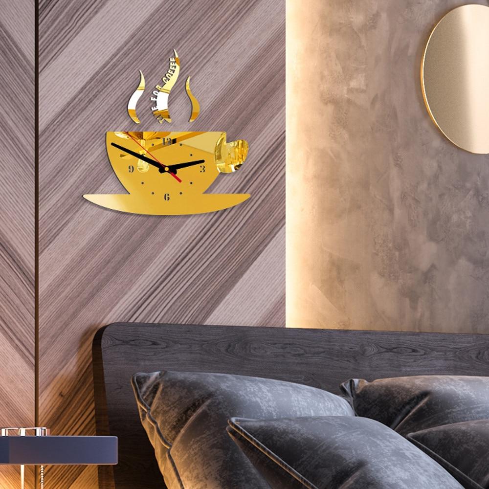 Coffee Shape Removable Diy Acrylic 3d Mirror Wall Sticker Decorative Clock Wall Clock Quartz Watch Reloj De Pared Living Room 3