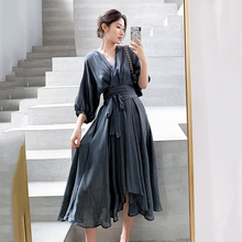 Elegant Summer Dress Satin Smoke Grey Surplice Wrap Knot Half Sleeve High Waist Party Dresses Women Clothes 2019 Autumn surplice high waist knit dress