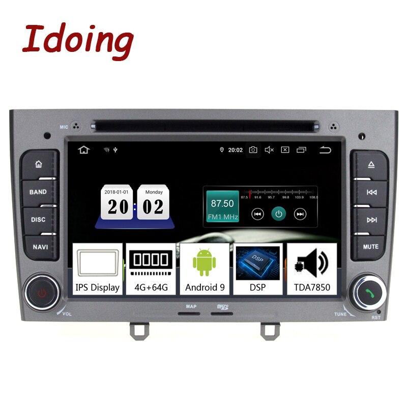 7 Idoing polegada 2Din Android 9.0 Player Multimídia Rádio Do Carro Para Peugeot 308 PX5 4G + G 8 64 núcleo IPS tela do GPS de Navegação TDA7850