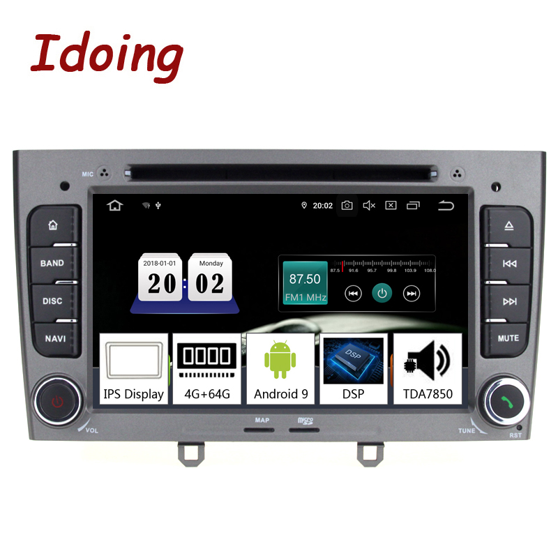 Idoing 7inch 2Din Car Android 9.0 Radio Multimedia Player For Peugeot 308 PX5 4G+64G 8 Core IPS screen GPS Navigation TDA7850